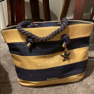 Lilly Pulitzer Striped Straw Tote Bag